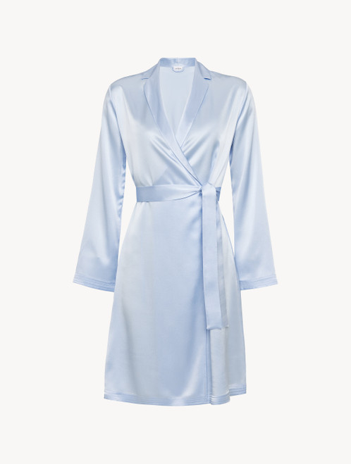 Azure silk short robe