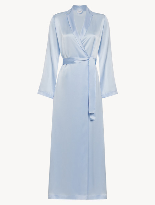 Azure silk long robe