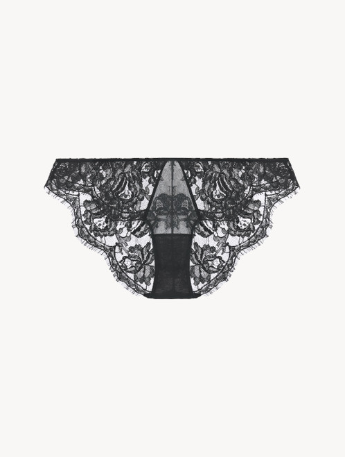 Dark-grey lace low-rise briefs