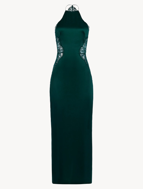 Green silk halterneck nightdress with Leavers lace trim