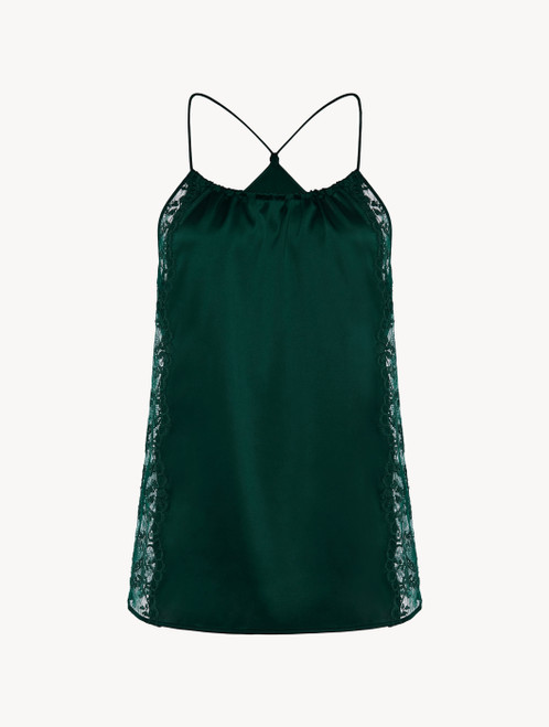 Green silk halterneck camisole with Leavers lace trim