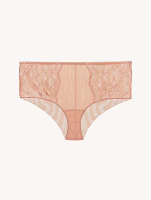 Powder pink lace high-waisted brief