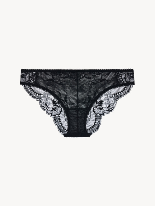 Black stretch Leavers lace and tulle medium briefs