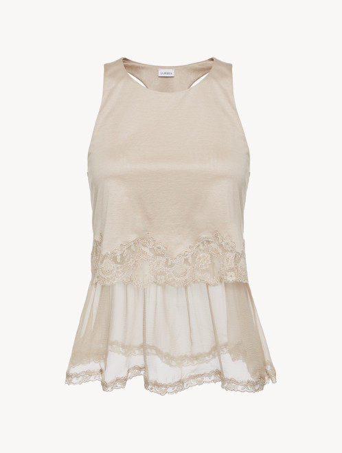 Soft beige cotton and chiffon top