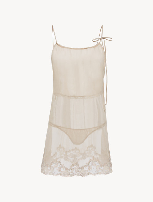 Soft beige chiffon short slip and thong