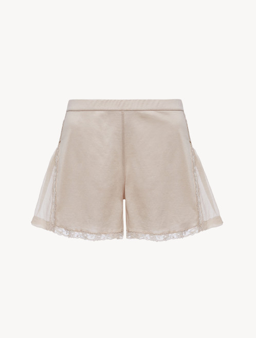 Soft beige cotton and chiffon shorts