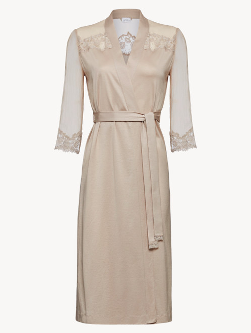 Soft beige silk chiffon short robe