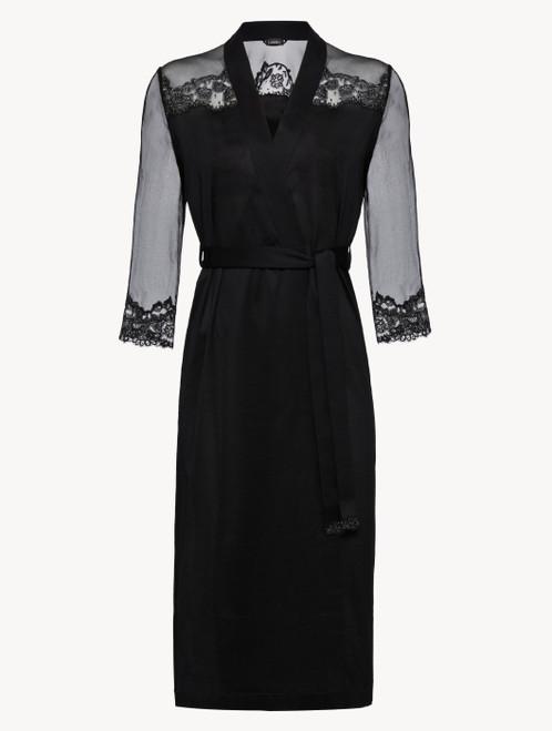 Black silk chiffon short robe