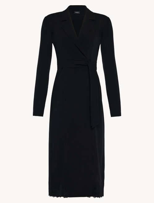 Black viscose short robe with tulle