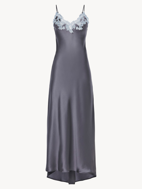 Grey silk long nightgown with lurex frastaglio