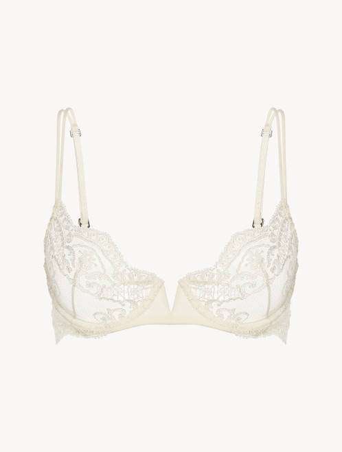 Off-white sheer embroidered tulle underwired bra