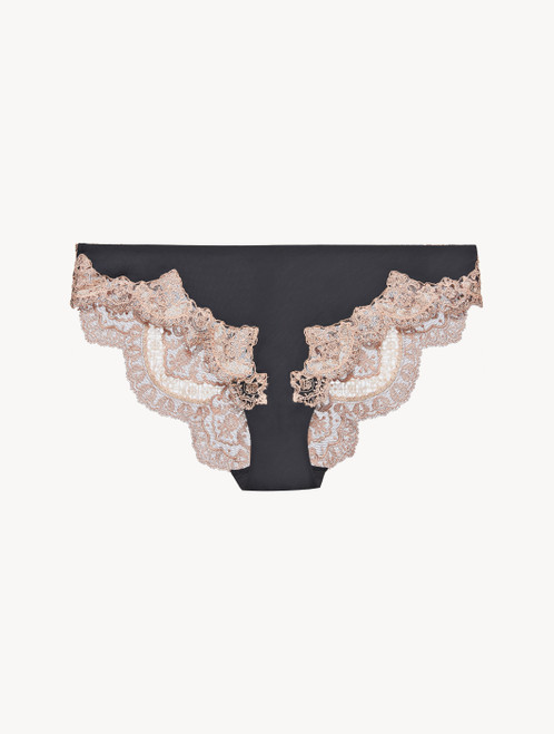 Dark grey and pink embroidered tulle medium brief