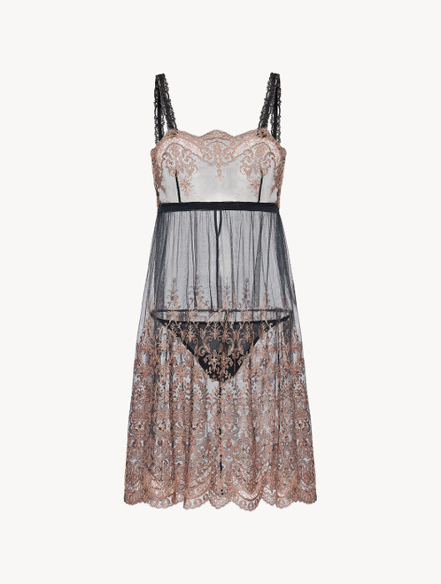 Dark grey and pink embroidered tulle short slip and thong set