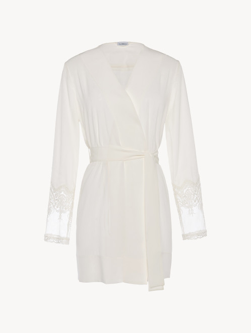Off-white tulle and silk-satin short robe