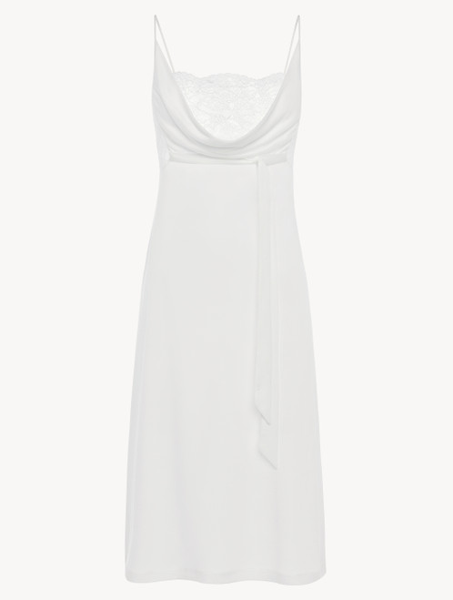 Soft white jersey modal midi-length nightgown