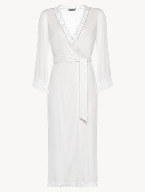 Soft white jersey modal long robe