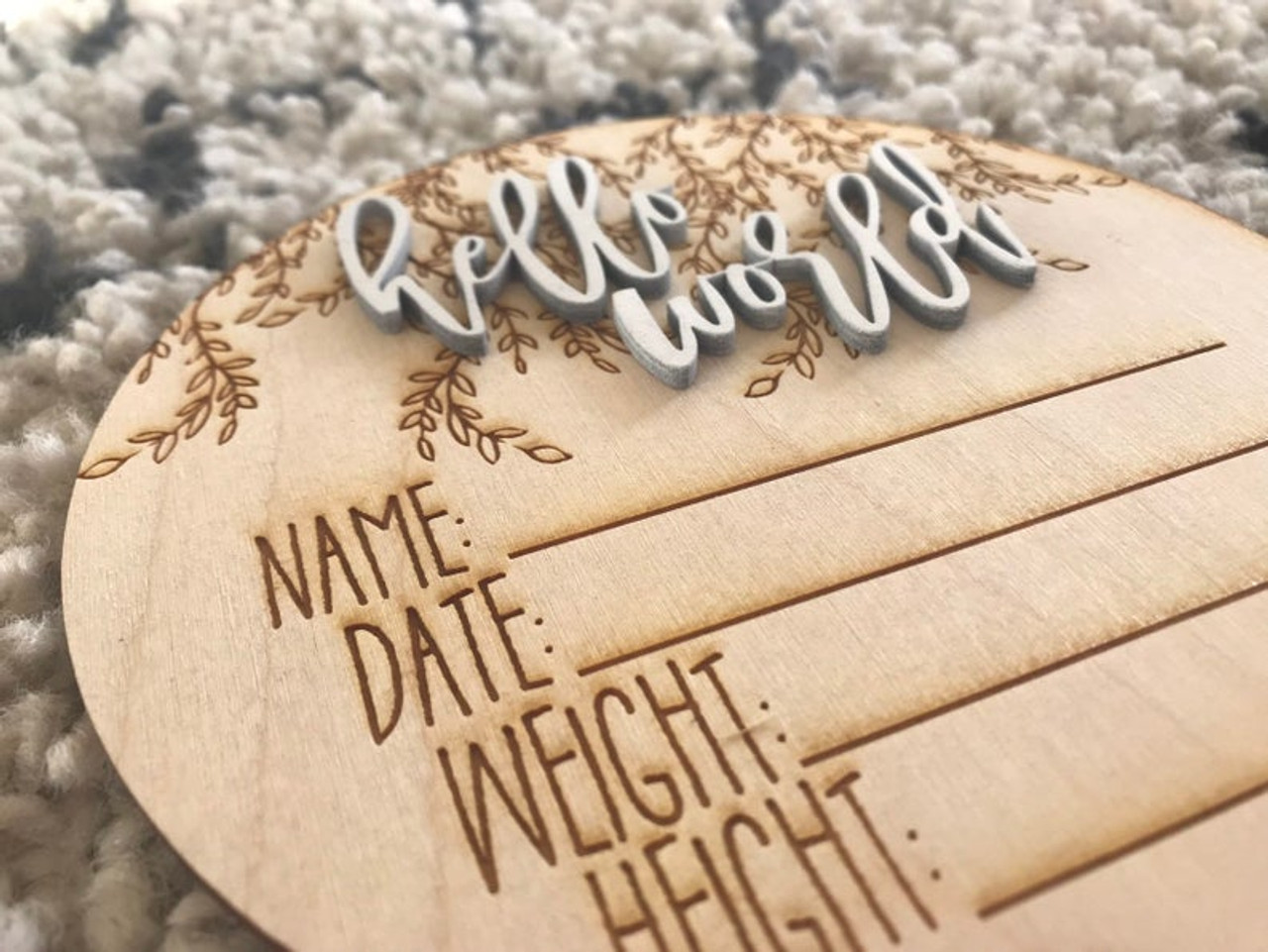 I/'m Here Annoucement Plaque Laser Cut Wood Photo Prop Sign Custom Hello World