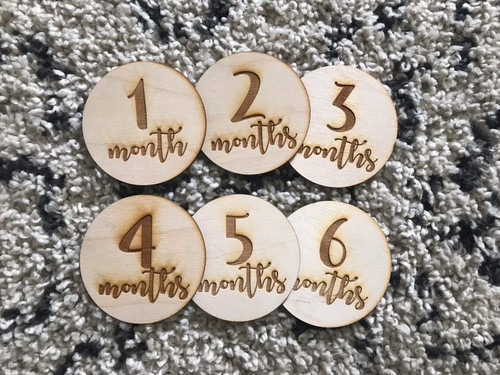 Wooden Monthly Milestone Baby Cards Natural Wood Keepsakes 12 month Photo Props Memory Discs Baby Shower Gift Memories Laser Cut Wood Prop