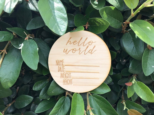 Hello World Birth Name Date Height Weight Announcement Sign Newborn Photo Props New Baby Gift Nursery Baby Shower Announcement