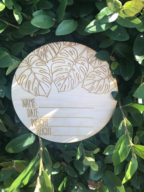 Birth Announcement Plaque with Tropical design for Name Date Weight and Height Announcement Plaque Laser Cut Wood Photo Prop Sign