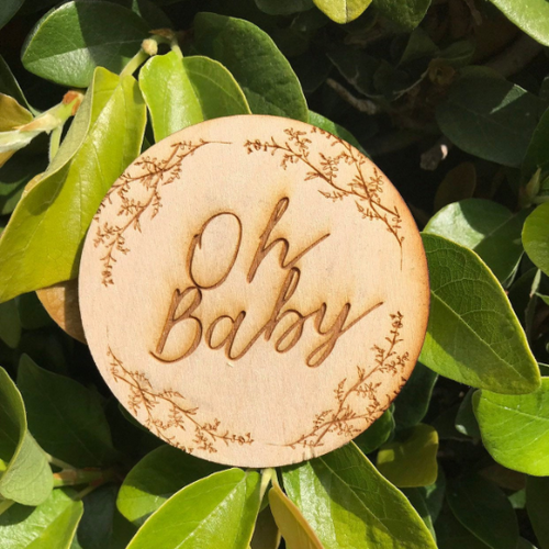 Oh Baby Sign Engraved Birth Announcement Sign