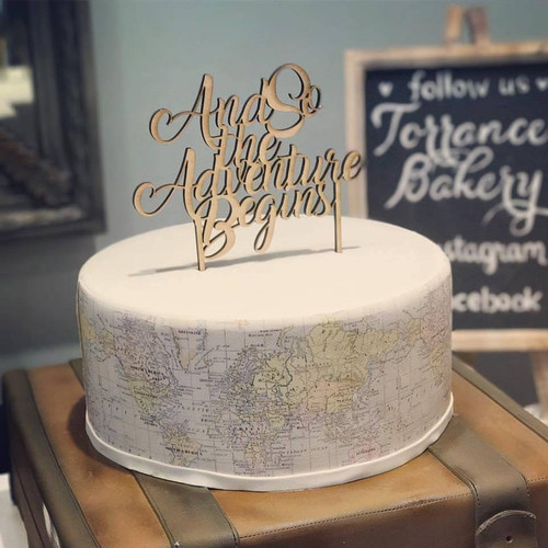 And So the Adventure Begins Wedding or Birthday Or Baby Shower Custom Natural Wood Cake Topper
