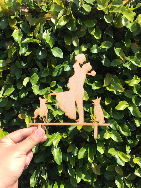 Wedding Cake Topper with Bride Groom and Dogs Custom Rustic Couple and Dogs Cake Topper Personalized