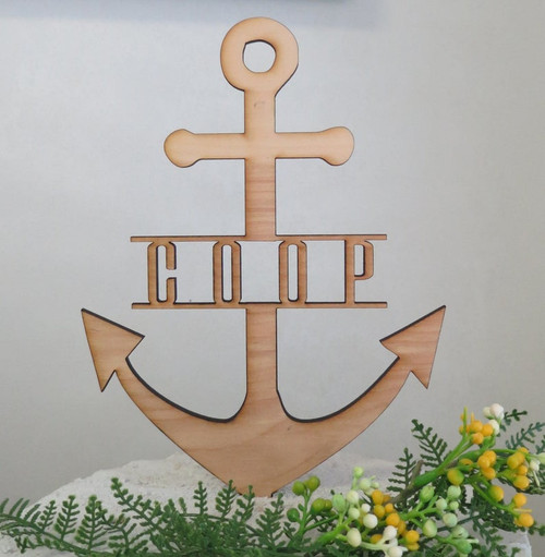 PERSONALIZED Custom Grooms Cake or Birthday or Wedding Wood Anchor Cake Topper with Name or Last Name