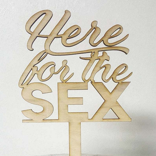 Gender Reveal Here for the Sex He or She Baby Shower Gender Reveal Cake Topper Laser Cut BOLD Design