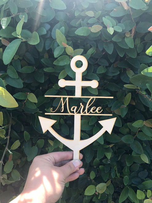 PERSONALIZED Custom Grooms Cake or Birthday or Wedding Wood Anchor Cake Topper with Script Font Name or Last Name