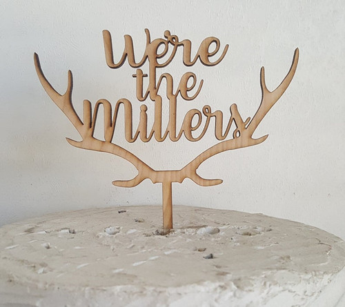 Custom Personalized We're the and Last Name Wood Deer Antler Cake Topper - Winter Woodland Themed Wedding