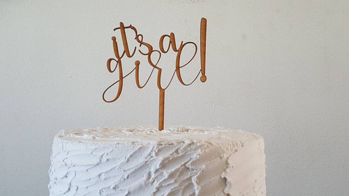 It's a Girl or It's a Boy! Baby Shower Welcome Baby Natural Wood Cake Topper