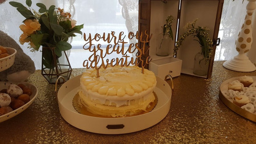 You're Our Greatest Adventure Baby Shower Custom Natural Wood Cake Topper