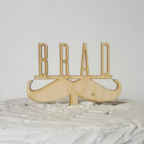 Custom Personalized Grooms Cake or Birthday or Wedding Wood Mustache Cake Topper with Name or Last Name