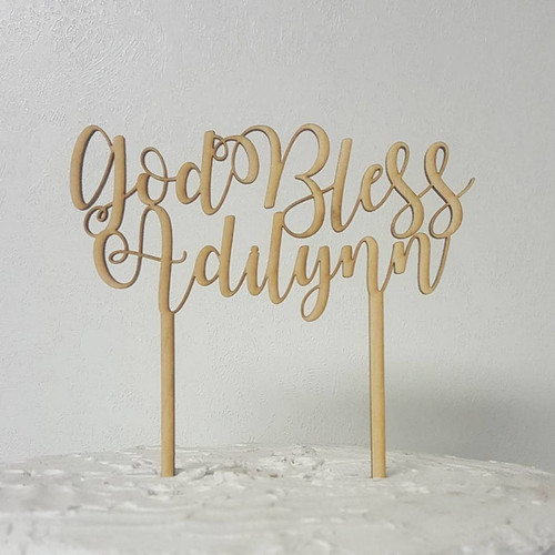 God Bless with Personalized Child's Name Baptism Day Custom Natural Wood Cake or Pie Topper