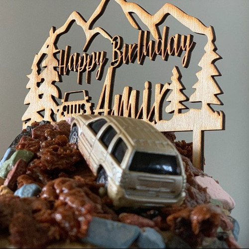Custom Personalized The Great Outdoors and Jeep Name and Birthday Natural Wood Cake Topper