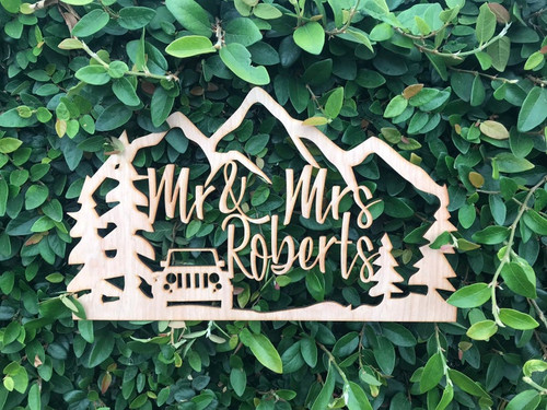 Custom Personalized Mr and Mrs Last Name The Great Outdoors Jeep Wedding Grooms Bride Natural Raw Wood Cake Topper