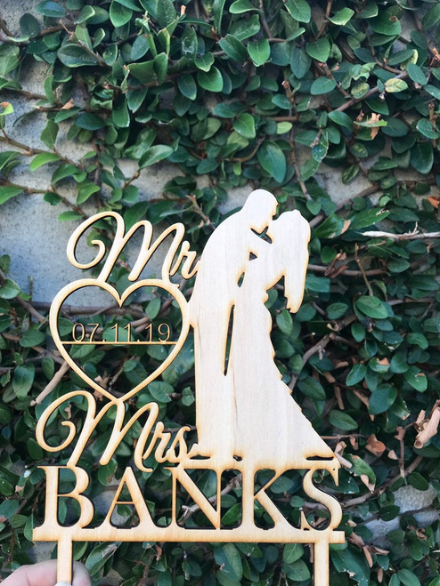 Custom Personalized  Mr and Mrs Last Name + Date Wedding Natural Wood Cake Topper Fancy Toppers Rustic and Beautiful