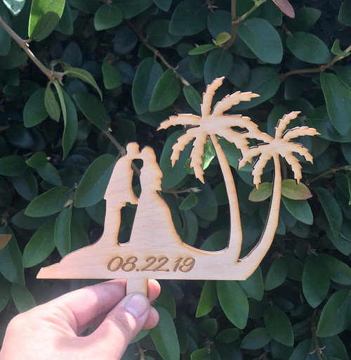 Custom Mr and Mrs with Personalized Engraved Date Tropical Island Hawaii Wedding Natural Wood Cake Topper