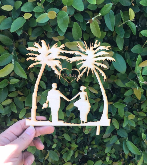 Custom Personalized Mr and Mrs with Date Tropical Island Hawaii Wedding Natural Wood Cake Topper