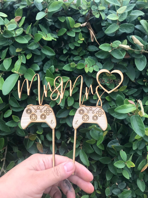 Custom Personalized Mr and Mrs Video Gamer Inspired Date Game Natural Wood Cake Pie Topper