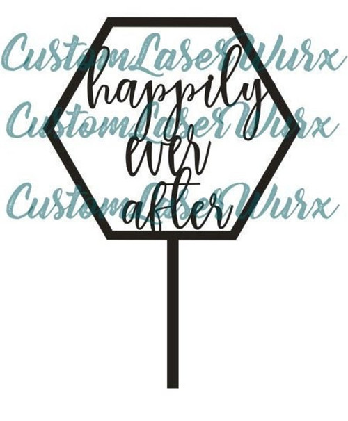 Happily Ever After His and Hers Mr and Mrs Natural Geometric Wood Cake Topper