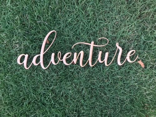 Custom Wooden Words Cursive Natural Wood Sign Adventure Sign Love Board Dessert Table Baby Wedding Bridal Shower Birthday Home Decor