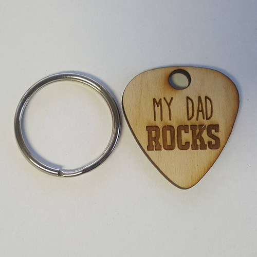 Custom Engraved Wooden Guitar Pick Keychain- Wood Gift for Dad Music Lover