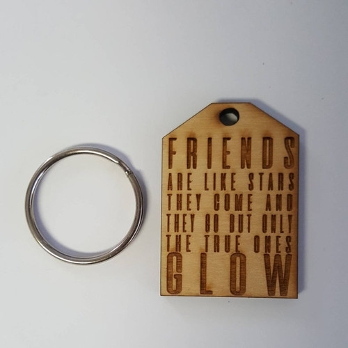 Custom Friends Come and Go But Only the True One Glow Best Friends Forever Natural Wood Keychain Gift Favor