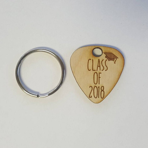 Class of 2019 Engraved Wooden Guitar Pick Keychain- Wood Gift for Graduate, His, Hers, Girlfriend, Boyfriend, or Friend, Music Lover