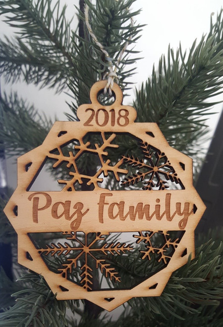 Personalized Family 2019 Year Christmas Ornament Snowflakes Wood Baby Gift Shower Girl Boy Newborn Keepsake