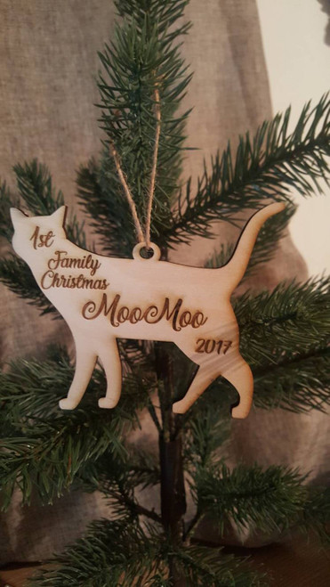 Personalized Christmas Tree Cat Ornament Name and Year First Family Christmas Cat Lover Fur Baby Mom