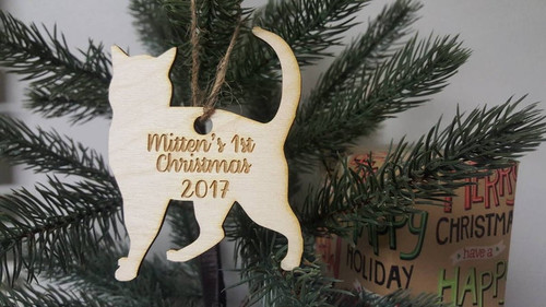 Personalized Christmas Tree Cat or Kitten Ornament Name and Year First Christmas Cat and Kitten Lover Fur Baby Mom