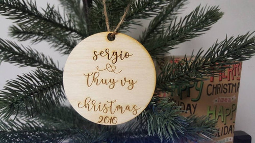 Personalized Christmas Ornament Newlyweds or Older Experienced Couples Bridal Shower Wedding Mr. and Mrs. Wood Mr & Mrs Keepsake